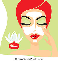 cosmetology mask - The person of the woman with a...