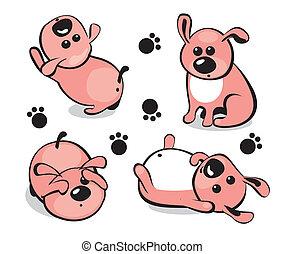 pequeno, Filhote cachorro, diferente, poses