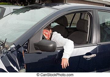 Bleeding victim in car crash - Bleeding woman driver...