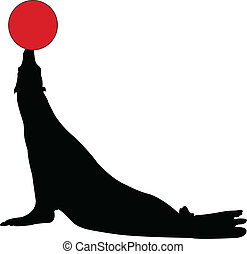 seal with ball - vector