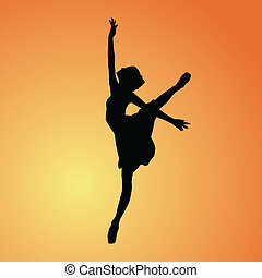 ballerina with background - vector - illustration of...