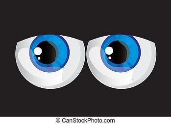 hypertrophied, huge balls bulging eyes
