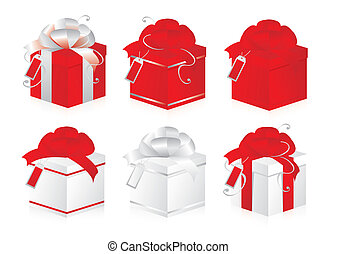 Set of gift boxes. Red and silver.