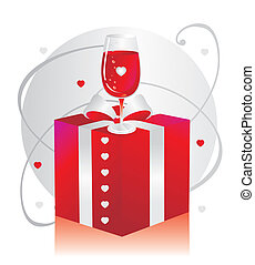 Gift box with glasses with red wine