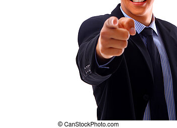 portrait of man pointing at you
