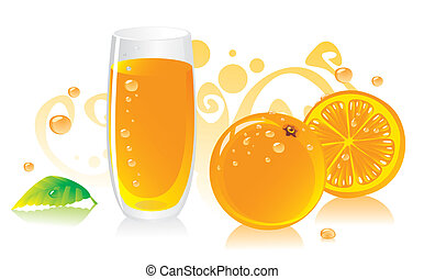 Fresh orange juice with an orange and a mint leaf