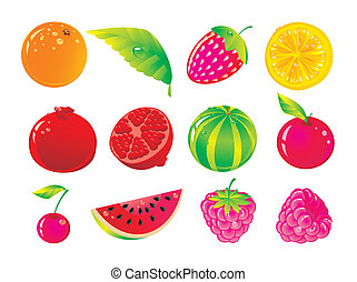 Set from juicy fruit and ripe berries