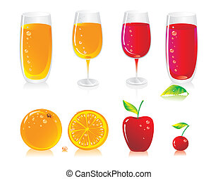fruit drinks  - Fruit color drinks and fresh fruit