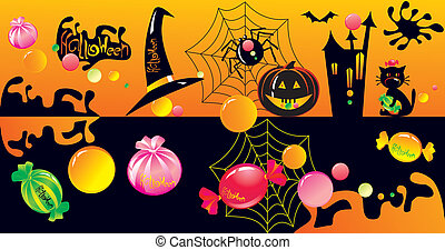 Halloween character set with sweets