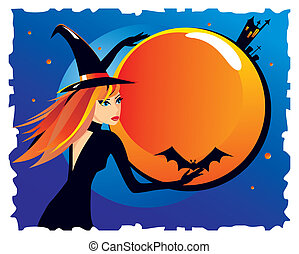 Beautiful witch with a bat