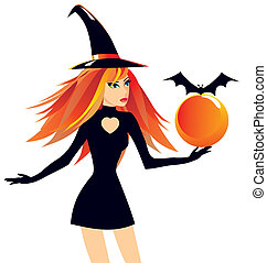 The beautiful witch holds a sphere with a bat