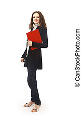 Isolated full-body portrait of a beautiful young female student.