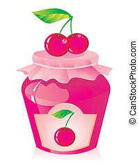 Jar of cherry jam and fresh cherry