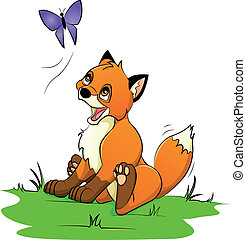 little fox playing with a butterfly
