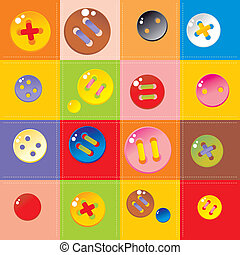 seamless plaid background with multicolored buttons