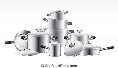 set of chrome-plated pans