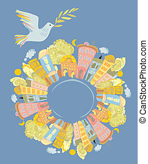 dove of peace over the world