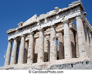 Parthenon, Athens - Front facade of the Parthenon Temple,...