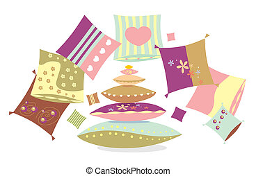 Set of multi-coloured pillows with patterns