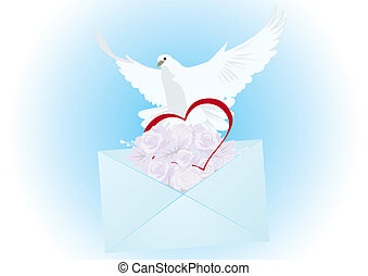 A white dove with a letter