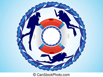 Lifebuoy and scuba divers - Three scuba divers and a life...