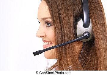 mujer, Llevando, auriculares, oficina, could, ser,...