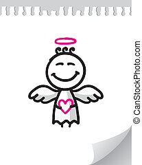 cute angel - cute cartoon angel on realistic paper page