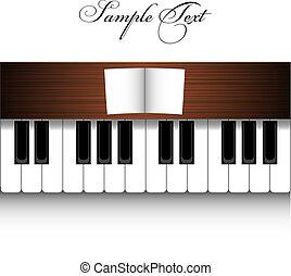 鋼琴, 矢量, 設計, 白色