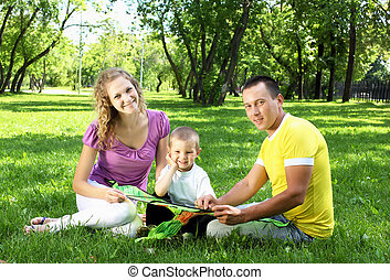 Parents in the summer park