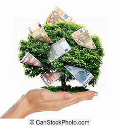 Money Tree with cuts on his hand of man. a symbol of...