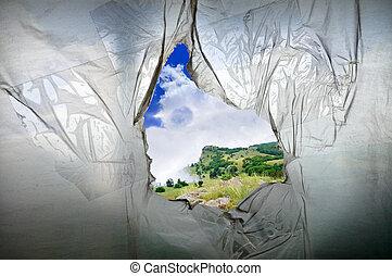 hole in the polyethylene