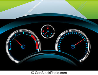 dashboard car - tachometer, speedometer and fuel level...
