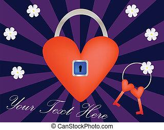 locked heart - vector