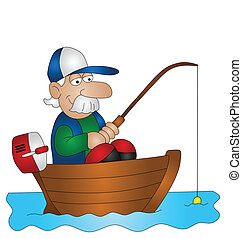 Cartoon angler fishing from boat isolated on white...