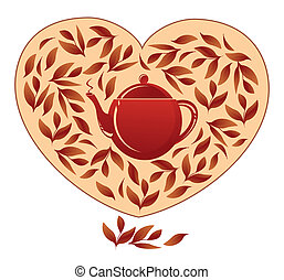 Heart with tea leaves and a teapot