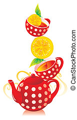 Teapot, cups with tea and a lemon