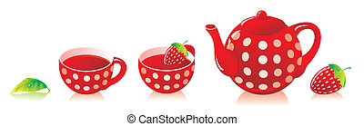 Red tea service with a strawberry