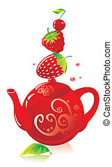 Red teapot with red berries