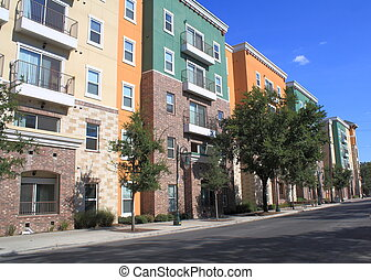 residential condominium buildings - Colorful condominiums...
