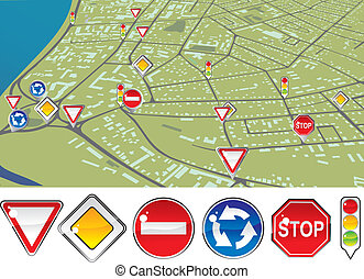 traffic regulations - signs priority to regulate the order...