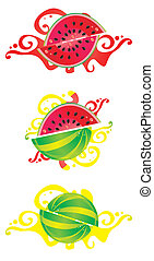 Set of abstract design with water-melon motives