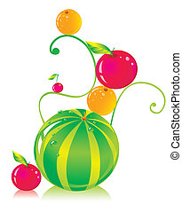 Composition with a water-melon, apples, oranges and a cherry...