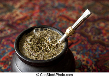 yerba mate closeup on a table