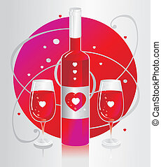 Two glasses with red wine and a large bottle with a heart...
