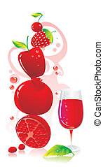 composition of red fruit and a glass of red wine