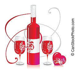Composition from a bottle and a glass with red wine with a pattern and heart symbols