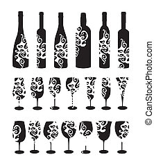 Wine set. Six wine bottles and glasses for wine.