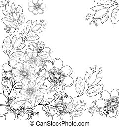 Flower background, contours - Vector, abstract background...