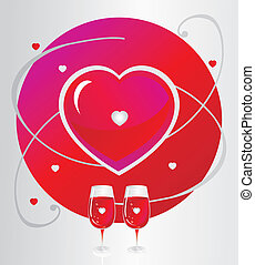 Two glasses with a heart symbol.