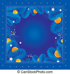 Fur-tree frame - New Year's blue background from fur-tree...
